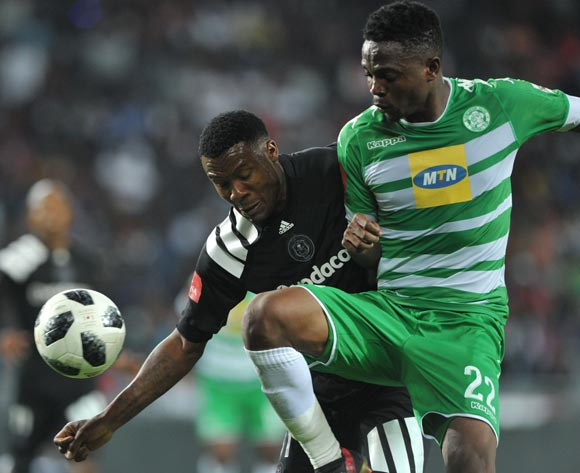 Thamsanqa Gabuza of Orlando Pirates challenges Tshepo Rikhotso of Bloemfontein Celtic during the Absa Premiership match between Orlando Pirates and Bloemfontein Celtic on 04 April  2018 at Orlando Stadium Pic Sydney Mahlangu/BackpagePix
