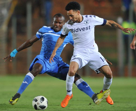 Augustine Tunde Oladepo of Enyimba challenges Daylon Claasen of Bidvest Wits during the CAF Confederation Cup match between Bidvest Wits and Enyimba FC on 06 April  2018 at Bidvest  Stadium Pic Sydney Mahlangu/BackpagePix