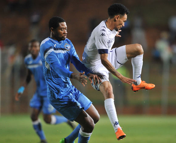 Nelson Ogbonnaya of Enyimba challenges Daylon Claasen of Bidvest Wits during the CAF Confederation Cup match between Bidvest Wits and Enyimba FC on 06 April  2018 at Bidvest  Stadium Pic Sydney Mahlangu/BackpagePix
