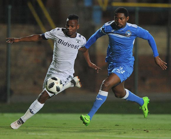 Nelson Ogbonnaya of Enyimba challenges Thobani Mncwango of Bidvest Wits during the CAF Confederation Cup match between Bidvest Wits and Enyimba FC on 06 April  2018 at Bidvest  Stadium Pic Sydney Mahlangu/BackpagePix