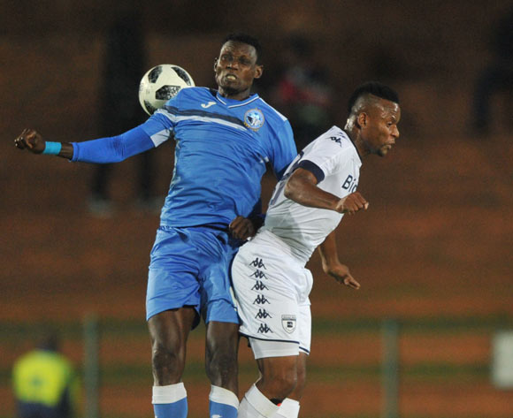 Oladuntoye Ishaka of Enyimba challenges Thobani Mncwango of Bidvest Wits during the CAF Confederation Cup match between Bidvest Wits and Enyimba FC on 06 April  2018 at Bidvest  Stadium Pic Sydney Mahlangu/BackpagePix