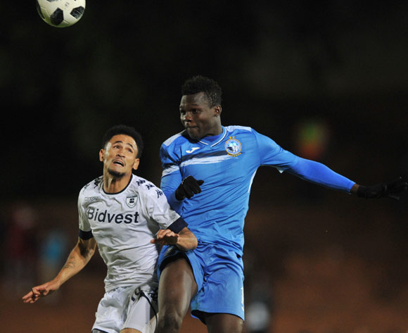 Ibrahim Mustapha of Enyimba challenges Daylon Claasen of Bidvest Wits during the CAF Confederation Cup match between Bidvest Wits and Enyimba FC on 06 April  2018 at Bidvest  Stadium Pic Sydney Mahlangu/BackpagePix