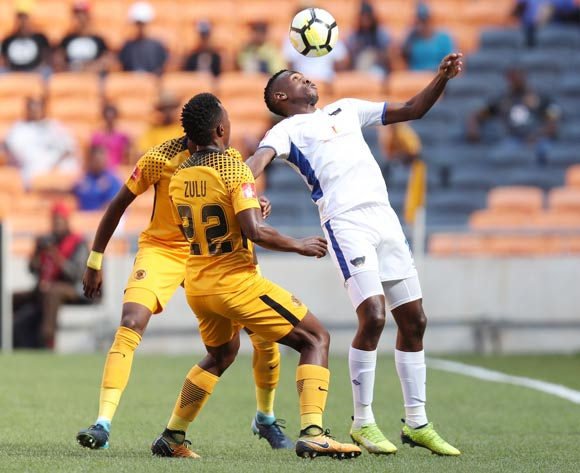 Mxolisi Macuphu of Chippa United challenged by Philani Zulu of Kaizer Chiefs during the Absa Premiership 2017/18 match between Kaizer Chiefs and Chippa United at FNB Stadium, Johannesburg on 07 April 2018 ©Muzi Ntombela/BackpagePix