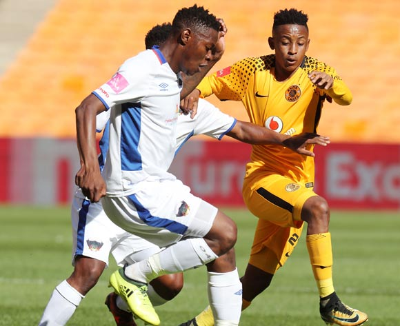 Zitha Macheke of Chippa United challenged by Hendrick Ekstein of Kaizer Chiefs during the Absa Premiership 2017/18 match between Kaizer Chiefs and Chippa United at FNB Stadium, Johannesburg on 07 April 2018 ©Muzi Ntombela/BackpagePix