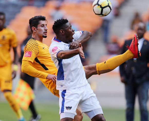 Zitha Macheke of Chippa United challenged by Leonardo Castro of Kaizer Chiefs during the Absa Premiership 2017/18 match between Kaizer Chiefs and Chippa United at FNB Stadium, Johannesburg on 07 April 2018 ©Muzi Ntombela/BackpagePix