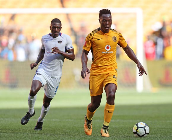 Philani Zulu of Kaizer Chiefs challenged by Abel Mabaso of Chippa United during the Absa Premiership 2017/18 match between Kaizer Chiefs and Chippa United at FNB Stadium, Johannesburg on 07 April 2018 ©Muzi Ntombela/BackpagePix