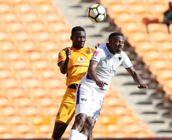 Eric Mathoho of Kaizer Chiefs clears ball from Mxolisi Macuphu of Chippa United during the Absa Premiership 2017/18 match between Kaizer Chiefs and Chippa United at FNB Stadium, Johannesburg on 07 April 2018 ©Muzi Ntombela/BackpagePix