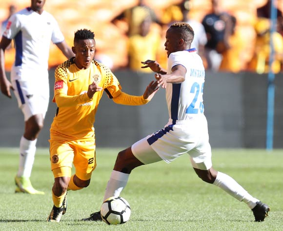 Hendrick Ekstein of Kaizer Chiefs challenged by Linda Mntambo of Chippa United during the Absa Premiership 2017/18 match between Kaizer Chiefs and Chippa United at FNB Stadium, Johannesburg on 07 April 2018 ©Muzi Ntombela/BackpagePix