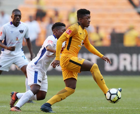 Dumisani Zuma challenged by Buyani Sali of Chippa United of Kaizer Chiefs during the Absa Premiership 2017/18 match between Kaizer Chiefs and Chippa United at FNB Stadium, Johannesburg on 07 April 2018 ©Muzi Ntombela/BackpagePix