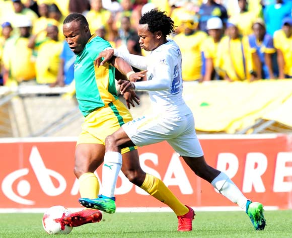 Letladi Madubanya of Baroka FC challenged by Percy Tau of Mamelodi Sundowns during Absa Premiership 2017/18 match between Baroka FC and Mamelodi Sundowns at the Peter Mokaba Stadium, Polokwane on 08 April 2018 ©Samuel Shivambu/BackpagePix