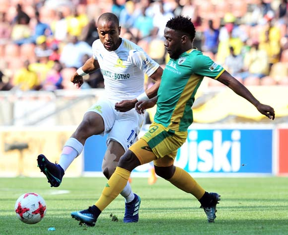 Tiyani Mabunda of Mamelodi Sundowns challenged by Mduduzi Mdantsane of Baroka FC during Absa Premiership 2017/18 match between Baroka FC and Mamelodi Sundowns at the Peter Mokaba Stadium, Polokwane on 08 April 2018 ©Samuel Shivambu/BackpagePix