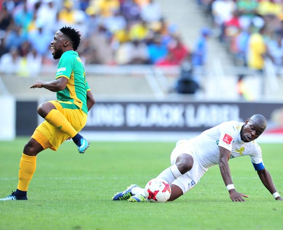 Mduduzi Mdantsane of Baroka FC tackled by Hlompho Kekana of Mamelodi Sundowns during Absa Premiership 2017/18 match between Baroka FC and Mamelodi Sundowns at the Peter Mokaba Stadium, Polokwane on 08 April 2018 ©Samuel Shivambu/BackpagePix