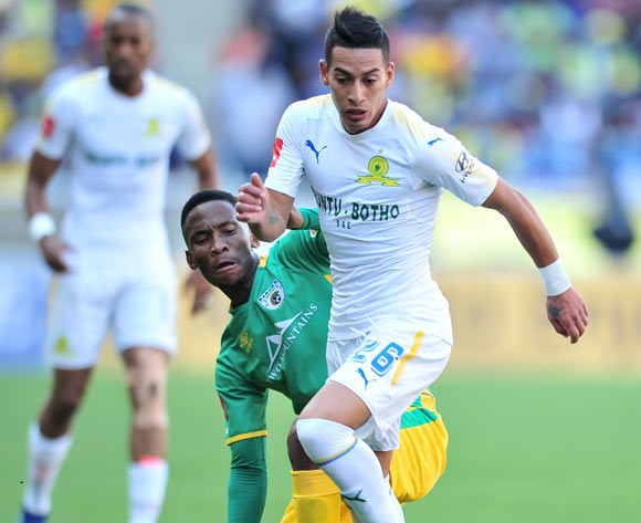 Gaston Sirino of Mamelodi Sundowns challenged by Mpho Kgaswane of Baroka FC during Absa Premiership 2017/18 match between Baroka FC and Mamelodi Sundowns at the Peter Mokaba Stadium, Polokwane on 08 April 2018 ©Samuel Shivambu/BackpagePix