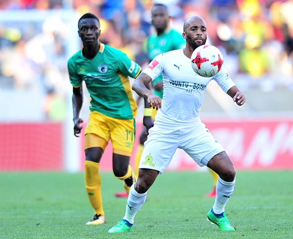 Oupa Manyisa of Mamelodi Sundowns challenged by Robin Ngalande of Baroka FC during Absa Premiership 2017/18 match between Baroka FC and Mamelodi Sundowns at the Peter Mokaba Stadium, Polokwane on 08 April 2018 ©Samuel Shivambu/BackpagePix