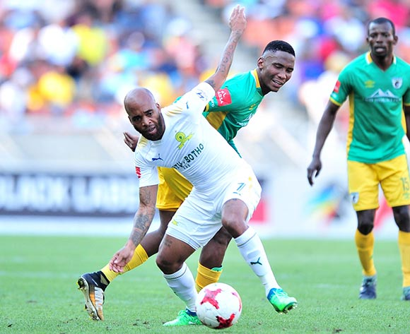 Oupa Manyisa of Mamelodi Sundowns challenged by Mpho Kgaswane of Baroka FC during Absa Premiership 2017/18 match between Baroka FC and Mamelodi Sundowns at the Peter Mokaba Stadium, Polokwane on 08 April 2018 ©Samuel Shivambu/BackpagePix
