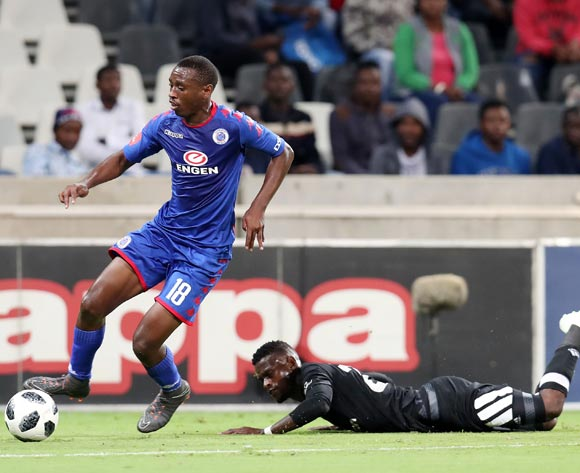 Innocent Maela of Orlando Pirates fouled by Siya Nhlapo of Supersport United during the Absa Premiership 2017/18 match between Supersport United and Orlando Pirates at Mbombela Stadium, Johannesburg on 11 April 2018 ©Muzi Ntombela/BackpagePix