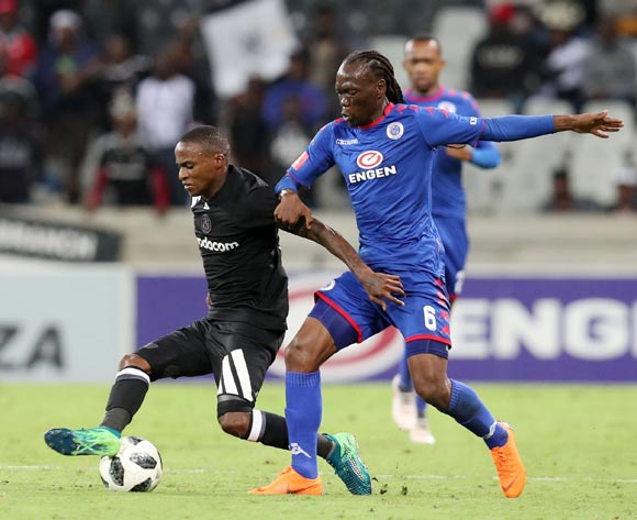 Thembinkosi Lorch of Orlando Pirates challenged by Reneilwe Letsholonyane of Supersport United during the Absa Premiership 2017/18 match between Supersport United and Orlando Pirates at Mbombela Stadium, Johannesburg on 11 April 2018 ©Muzi Ntombela/BackpagePix