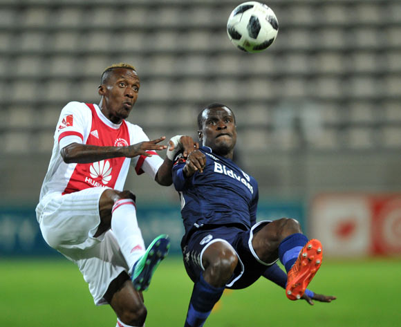 Edwin Gyimah of Bidvest Wits clear the ball ahead of Yannick Zakri of Ajax Cape Town during the Absa Premiership 2017/18 game between Ajax Cape Town and Bidvest Wits at Athlone Stadium, Cape Town on 11 April 2018 © Ryan Wilkisky/BackpagePix