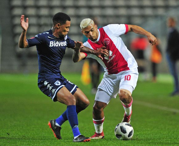 Toriq Losper of Ajax Cape Town takes on Granwald Scott of Bidvest Wits during the Absa Premiership 2017/18 game between Ajax Cape Town and Bidvest Wits at Athlone Stadium, Cape Town on 11 April 2018 © Ryan Wilkisky/BackpagePix