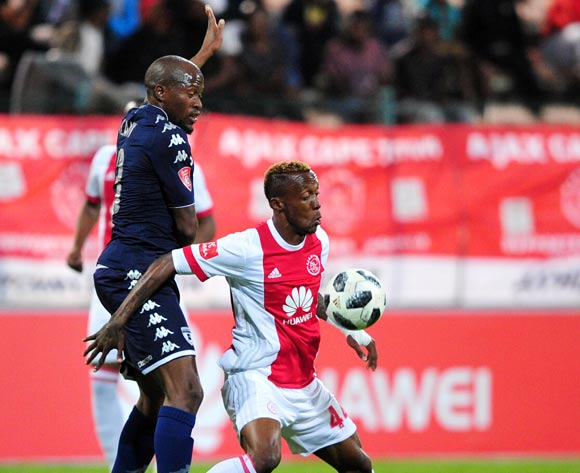 Yannick Zakri of Ajax Cape Town controls the ball ahead of Sifiso Hlanti of Bidvest Wits during the Absa Premiership 2017/18 game between Ajax Cape Town and Bidvest Wits at Athlone Stadium, Cape Town on 11 April 2018 © Ryan Wilkisky/BackpagePix