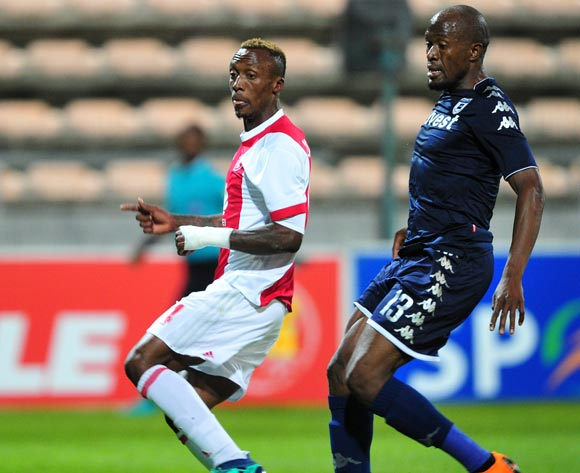 Yannick Zakri of Ajax Cape Town shoots and scores as Sifiso Hlanti of Bidvest Wits looks on during the Absa Premiership 2017/18 game between Ajax Cape Town and Bidvest Wits at Athlone Stadium, Cape Town on 11 April 2018 © Ryan Wilkisky/BackpagePix