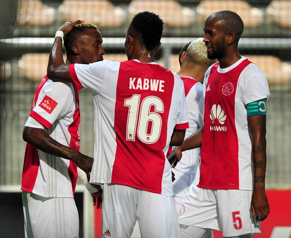 Ajax Cape Town players celebrate after Yannick Zakri gives them the lead during the Absa Premiership 2017/18 game between Ajax Cape Town and Bidvest Wits at Athlone Stadium, Cape Town on 11 April 2018 © Ryan Wilkisky/BackpagePix
