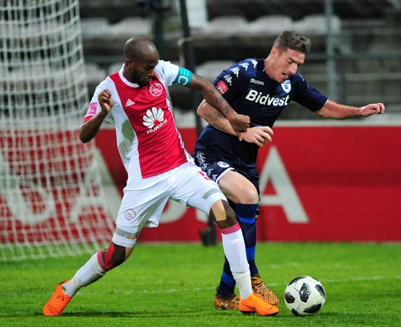 James Keene of Bidvest Wits and Mosa Lebusa of Ajax Cape Town battle for possession during the Absa Premiership 2017/18 game between Ajax Cape Town and Bidvest Wits at Athlone Stadium, Cape Town on 11 April 2018 © Ryan Wilkisky/BackpagePix