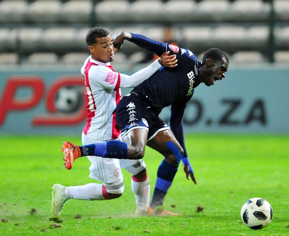 Fagrie Lakay of Ajax Cape Town and Edwin Gyimah of Bidvest Wits battle for possession during the Absa Premiership 2017/18 game between Ajax Cape Town and Bidvest Wits at Athlone Stadium, Cape Town on 11 April 2018 © Ryan Wilkisky/BackpagePix