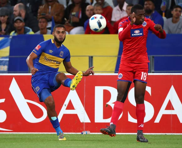 Ebrahim Seedat of Cape Town City evades challenge from Siyabonga Nhlapo of Supersport United during the Absa Premiership 2017/18 football match between Cape Town City FC and SuperSport United at Cape Town Stadium, Cape Town on 14 April 2018 ©Chris Ricco/BackpagePix