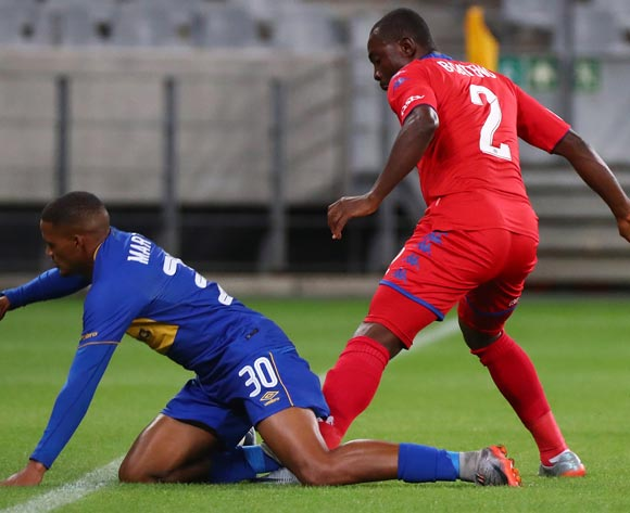Craig Martin of Cape Town City tackled by Richard Boateng of Supersport United during the Absa Premiership 2017/18 football match between Cape Town City FC and SuperSport United at Cape Town Stadium, Cape Town on 14 April 2018 ©Chris Ricco/BackpagePix