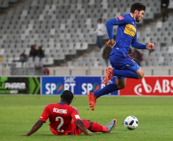 Roland Putsche of Cape Town City challenged by Richard Boateng of Supersport United during the Absa Premiership 2017/18 football match between Cape Town City FC and SuperSport United at Cape Town Stadium, Cape Town on 14 April 2018 ©Chris Ricco/BackpagePix