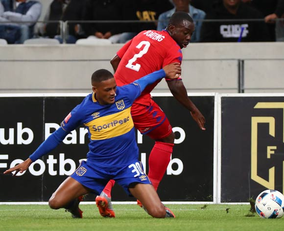 Craig Martin of Cape Town City battles for the ball with Richard Boateng of Supersport United during the Absa Premiership 2017/18 football match between Cape Town City FC and SuperSport United at Cape Town Stadium, Cape Town on 14 April 2018 ©Chris Ricco/BackpagePix