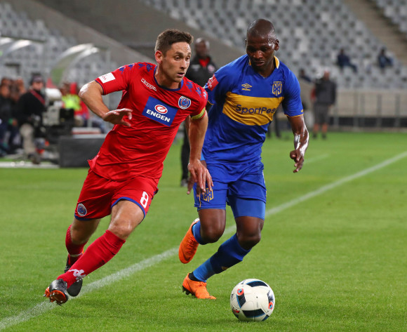 Dean Furman of Supersport United evades challenge from Thamsanqa Mkhize of Cape Town City during the Absa Premiership 2017/18 football match between Cape Town City FC and SuperSport United at Cape Town Stadium, Cape Town on 14 April 2018 ©Chris Ricco/BackpagePix