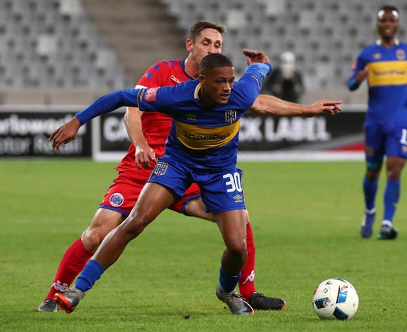 Craig Martin of Cape Town City challenged by Dean Furman of Supersport United during the Absa Premiership 2017/18 football match between Cape Town City FC and SuperSport United at Cape Town Stadium, Cape Town on 14 April 2018 ©Chris Ricco/BackpagePix