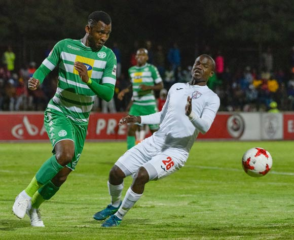 Alfred Ndengane of Bloemfontein Celtic and Sthembiso Dlamini of Free State Stars during the Absa Premiership 2017/18 game between Free State Stars and Bloemfontein Celtic at Goble Park, Bethlehem on 14 April 2018 © Frikkie Kapp/BackpagePix