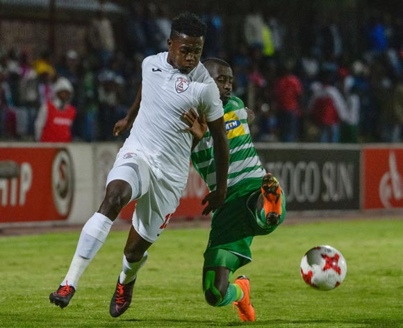 Thabo Maphakisa of Free State Stars and Deon Hotto of Bloemfontein Celtic during the Absa Premiership 2017/18 game between Free State Stars and Bloemfontein Celtic at Goble Park, Bethlehem on 14 April 2018 © Frikkie Kapp/BackpagePix