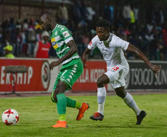 Deon Hotto of Bloemfontein Celtic and Thabo Maphakisa of Free State Stars during the Absa Premiership 2017/18 game between Free State Stars and Bloemfontein Celtic at Goble Park, Bethlehem on 14 April 2018 © Frikkie Kapp/BackpagePix