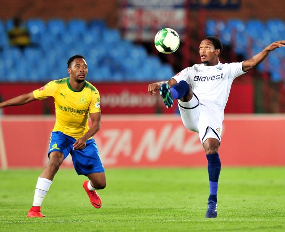 Phumlani Ntshangase of Bidvest Wits challenged by Sibusiso Vilakazi of Mamelodi Sundowns during the Absa Premiership 2017/18 football match between Mamelodi Sundowns and Bidvest Wits  at Loftus Stadium, Pretoria on 14 April 2018 ©Samuel Shivambu/BackpagePix