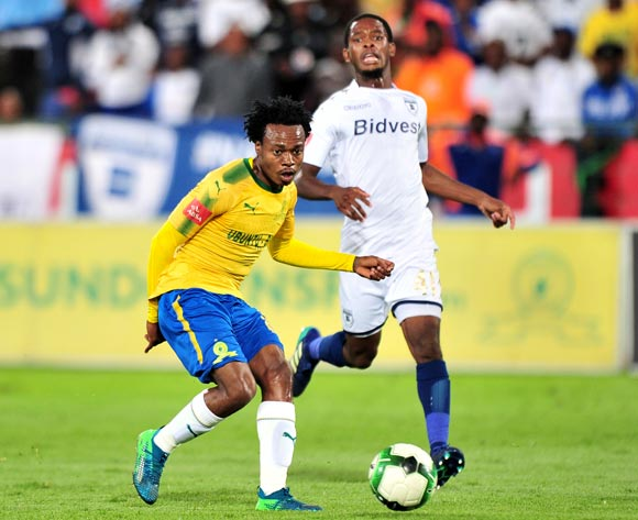 Percy Tau of Mamelodi Sundowns challenged by Phumlani Ntshangase of Bidvest Wits during the Absa Premiership 2017/18 football match between Mamelodi Sundowns and Bidvest Wits  at Loftus Stadium, Pretoria on 14 April 2018 ©Samuel Shivambu/BackpagePix
