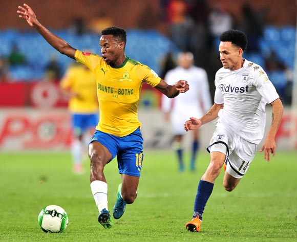 Themba Zwane of Mamelodi Sundowns challenged by Daylon Claasen of Bidvest Wits during the Absa Premiership 2017/18 football match between Mamelodi Sundowns and Bidvest Wits  at Loftus Stadium, Pretoria on 14 April 2018 ©Samuel Shivambu/BackpagePix