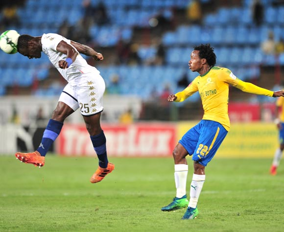 Percy Tau of Mamelodi Sundowns challenged by Edwin Gyimah of Bidvest Wits during the Absa Premiership 2017/18 football match between Mamelodi Sundowns and Bidvest Wits  at Loftus Stadium, Pretoria on 14 April 2018 ©Samuel Shivambu/BackpagePix