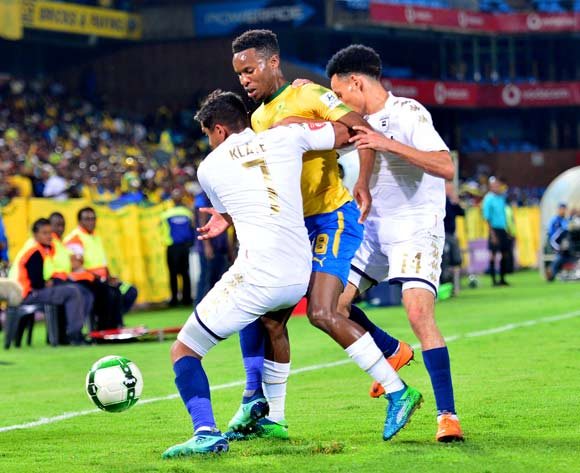 Themba Zwane of Mamelodi Sundowns challenged by Daine Klate and Daylon Claasen of Bidvest Wits during the Absa Premiership 2017/18 football match between Mamelodi Sundowns and Bidvest Wits  at Loftus Stadium, Pretoria on 14 April 2018 ©Samuel Shivambu/BackpagePix