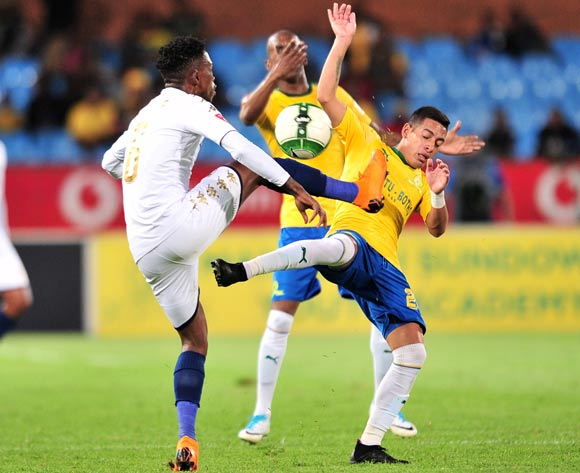 Gaston Sirino of Mamelodi Sundowns challenged by Thabang Monare of Bidvest Wits during the Absa Premiership 2017/18 football match between Mamelodi Sundowns and Bidvest Wits  at Loftus Stadium, Pretoria on 14 April 2018 ©Samuel Shivambu/BackpagePix