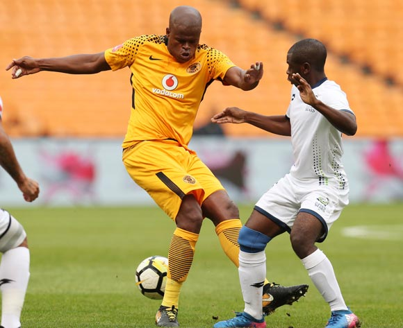 Willard Katsande of Kaizer Chiefs challenged by Ryan De Jongh (18) and Wangu Gome of Platinum Stars during the Absa Premiership 2017/18 match between Kaizer Chiefs and Platinum Stars at FNB Stadium, Johannesburg on 15 April 2018 ©Muzi Ntombela/BackpagePix