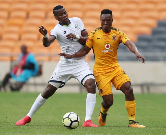 Philani Zulu of Kaizer Chiefs challenged by Bongi Ntuli of Platinum Stars during the Absa Premiership 2017/18 match between Kaizer Chiefs and Platinum Stars at FNB Stadium, Johannesburg on 15 April 2018 ©Muzi Ntombela/BackpagePix