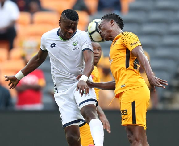 Bongi Ntuli of Platinum Stars challenged by Philani Zulu of Kaizer Chiefs during the Absa Premiership 2017/18 match between Kaizer Chiefs and Platinum Stars at FNB Stadium, Johannesburg on 15 April 2018 ©Muzi Ntombela/BackpagePix
