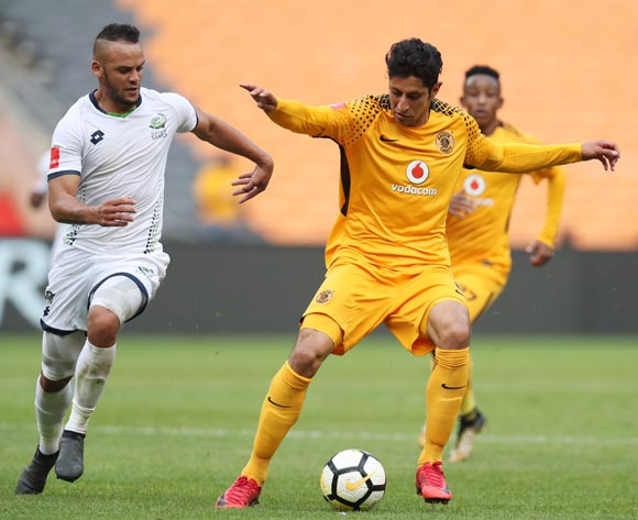 Leonardo Castro of Kaizer Chiefs challenged by Ryan De Jongh of Platinum Stars during the Absa Premiership 2017/18 match between Kaizer Chiefs and Platinum Stars at FNB Stadium, Johannesburg on 15 April 2018 ©Muzi Ntombela/BackpagePix