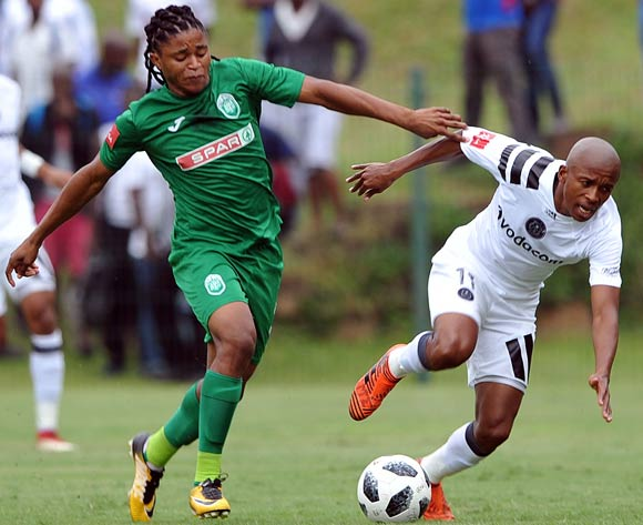 Siyethemba Mnguni of AmaZulu challenges Luvuyo Memela of Orlando Pirates during the Absa Premiership match between AmaZulu and Orlando Pirates 15 April  2018 at King Zwelithini Stadium, Durban  Pic Sydney Mahlangu/BackpagePix