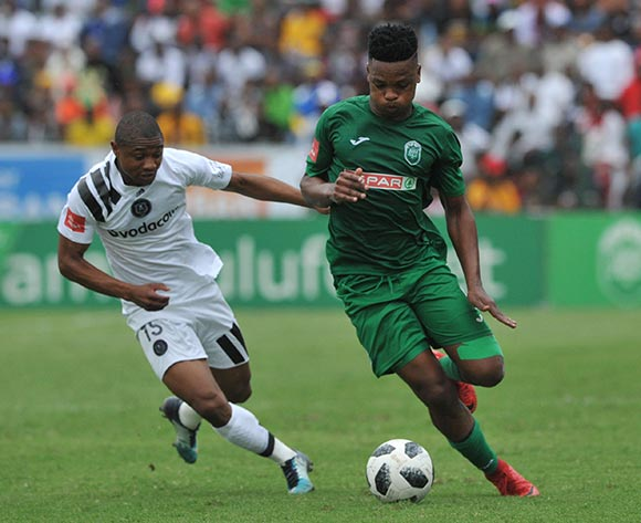 Thabo Qalinge of Orlando Pirates challenges Mhlengi Cele of AmaZulu  during the Absa Premiership match between AmaZulu and Orlando Pirates 15 April  2018 at King Zwelithini Stadium, Durban  Pic Sydney Mahlangu/BackpagePix