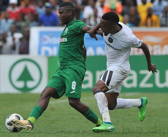 Diamond Thopola of Orlando Pirates challenges Jabulani Ncobeni of AmaZulu during the Absa Premiership match between AmaZulu and Orlando Pirates 15 April  2018 at King Zwelithini Stadium, Durban  Pic Sydney Mahlangu/BackpagePix